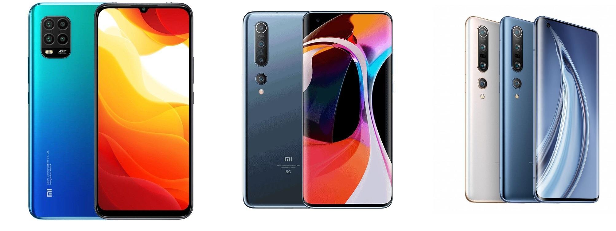 Слева направо: Xiaomi Mi 10 Youth, Mi 10, Mi 10 Pro