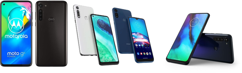 Слева направо: Motorola Moto G8 Power, Motorola Moto G Fast, Motorola Moto G Pro
